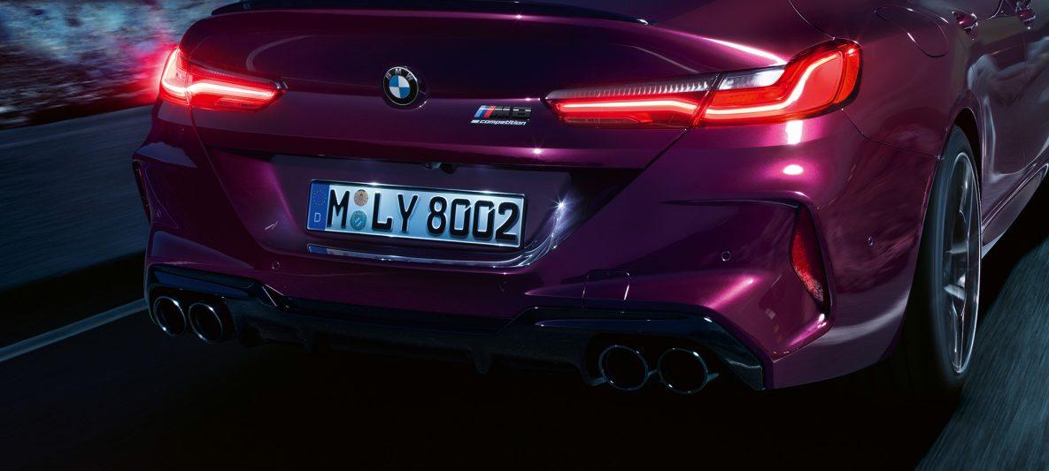BMW M8 Competition Gran Coupé F93 2020 BMW Individual Ametrin metallic Nahaufnahme Heck